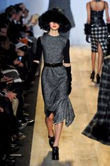 Michael Kors Fall 2012 Wool Midi Formal Dress with Black Knitted Short Sleeves - Lyst