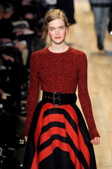 Michael Kors Fall 2012 Long Sleeve Crew Neck Melange Sweater In Red - Lyst