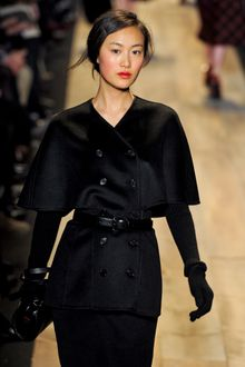 Michael Kors Fall 2012 Double Breasted Collar-Less Cape Sleeve Wool Coat In Black  - Lyst