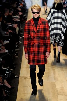 Michael Kors Fall 2012 Long Double-Breasted Plaid Coat in Red  - Lyst