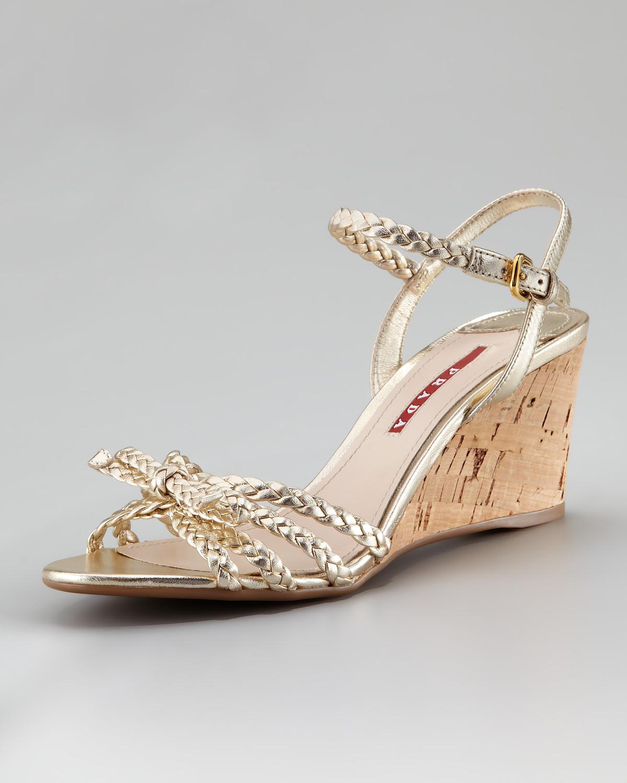 prada metallic braided cork wedge sandal in gold lyst