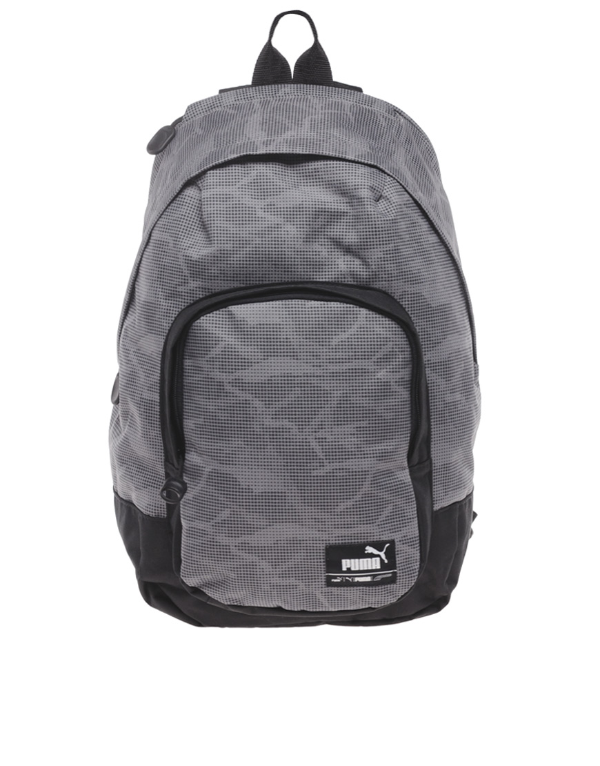 lyst puma foundation backpack in gray for men