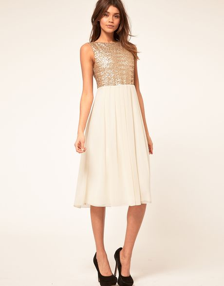 Tfnc Tfnc Midi Dress with Sequin Bodice in Black (goldcream) - Lyst