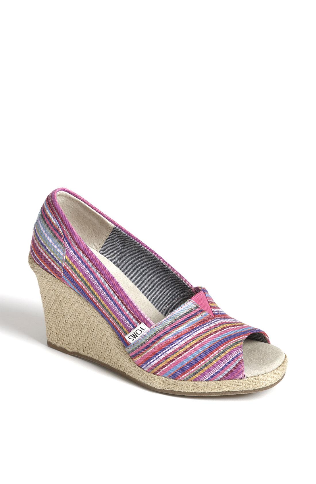 toms woven wedge sandal in purple fuchsia multi lyst