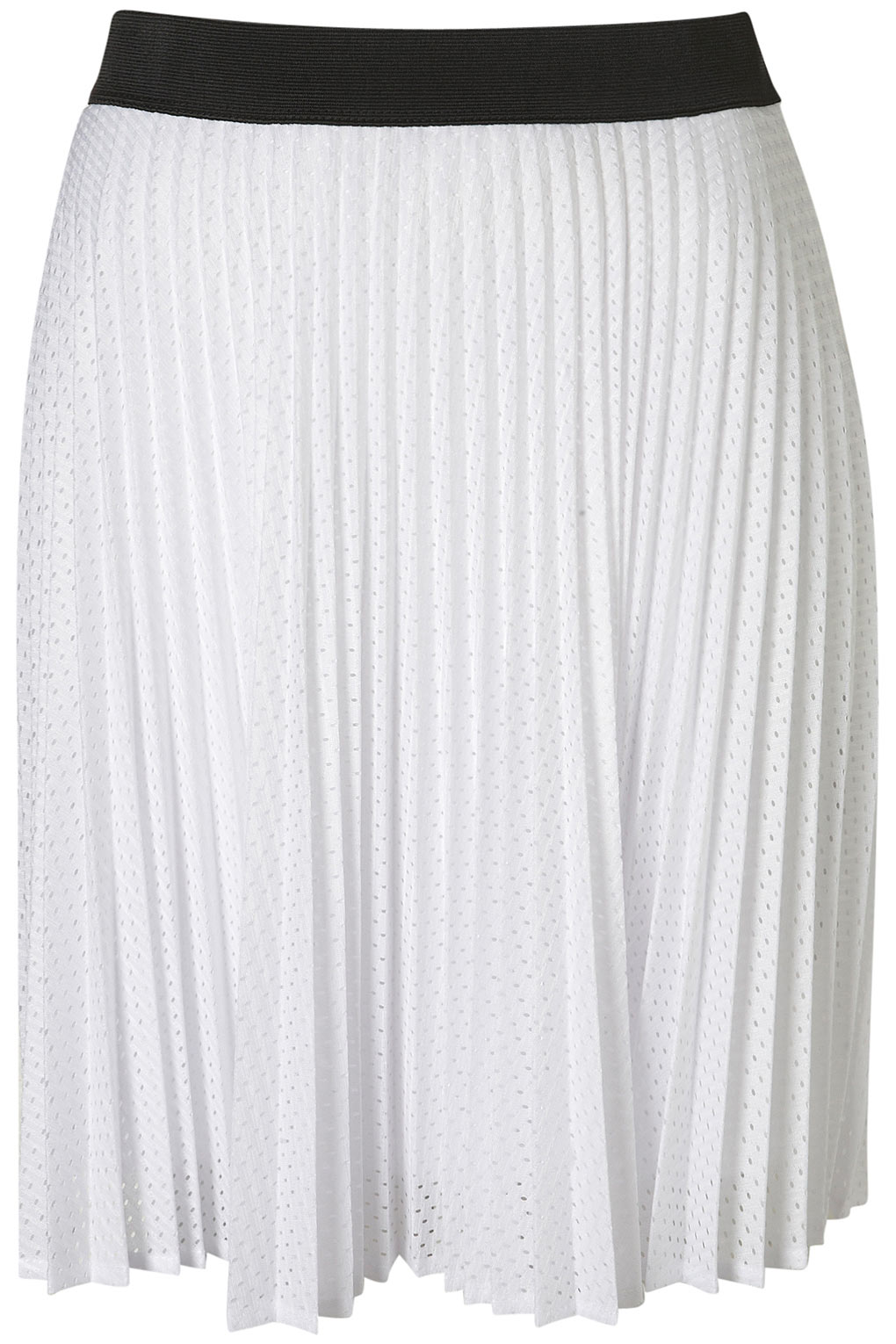 Topshop Airtex Pleated Skirt in White | Lyst