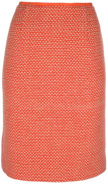 Tory Burch Knitted Skirt in Orange - Lyst