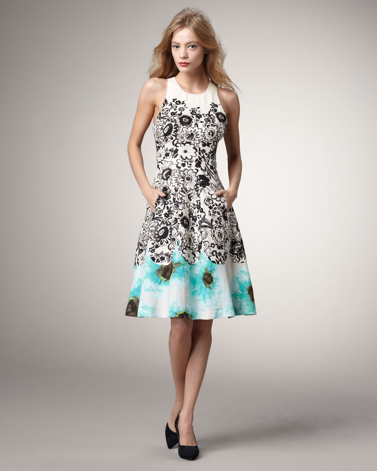 Lyst Tracy Reese Mixed Floral Full Skirt Dress In Black