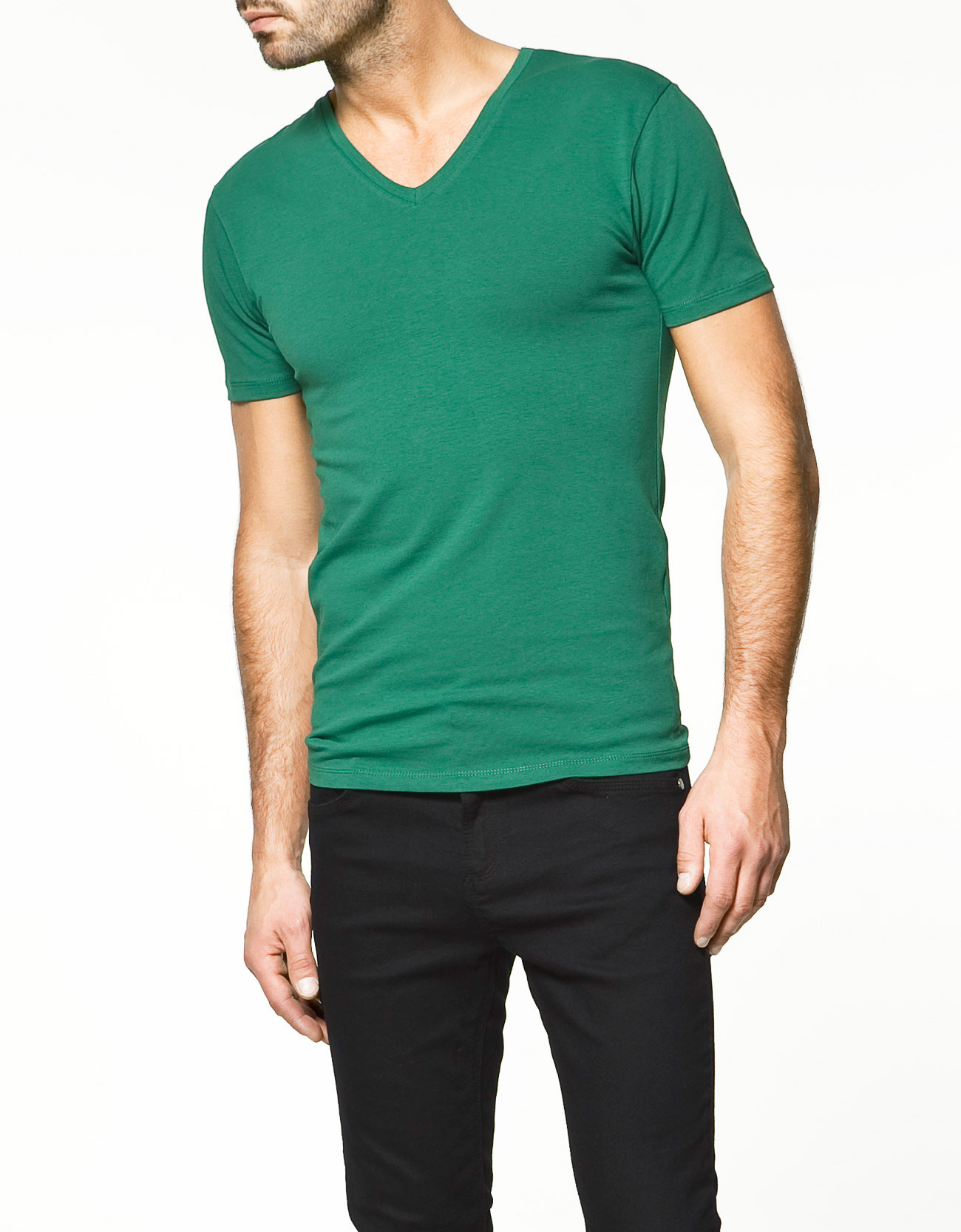 zara super slim fit t shirt in green for men lyst. Black Bedroom Furniture Sets. Home Design Ideas