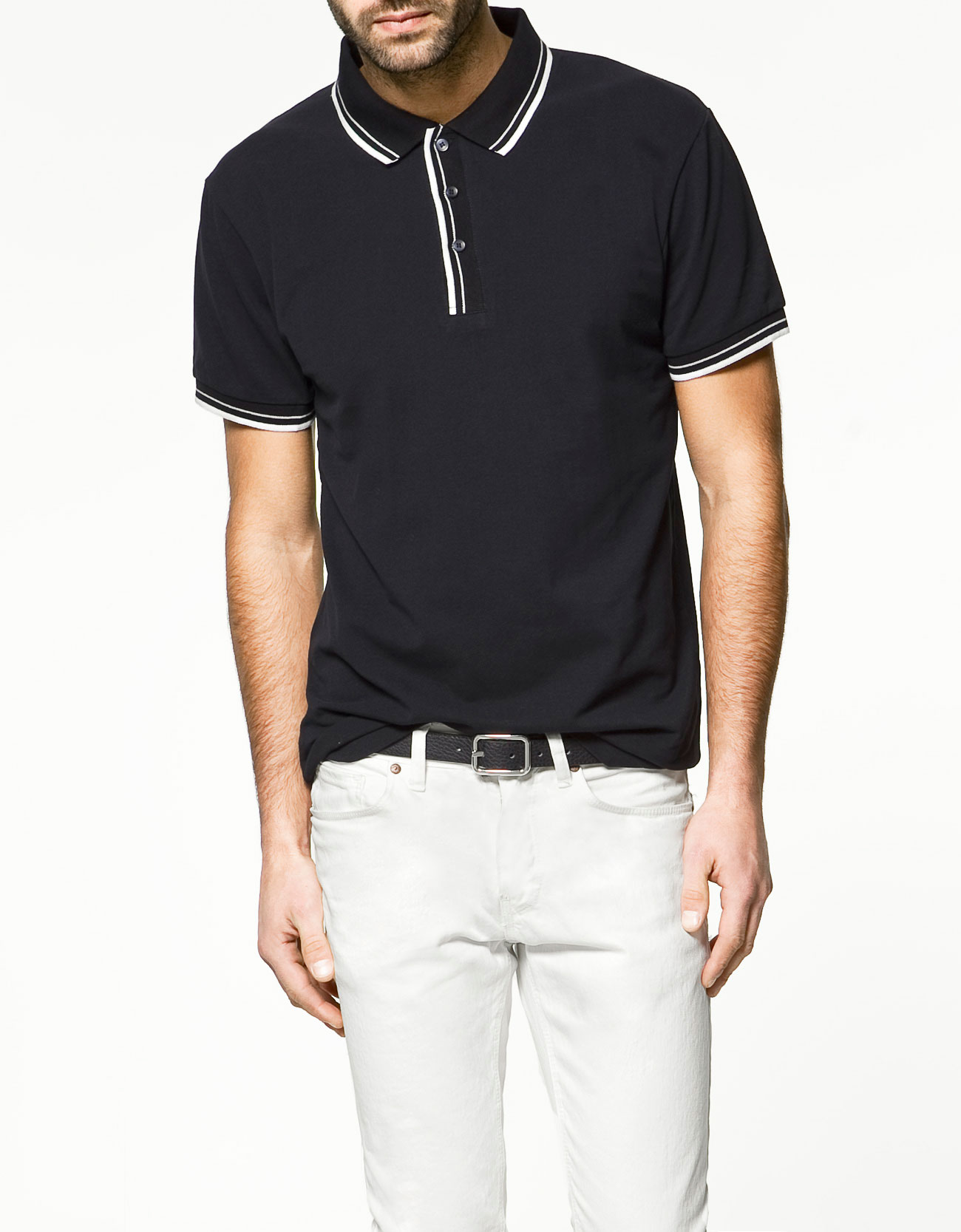 Zara tipping polo shirt in blue for men navy lyst for Zara mens shirts sale