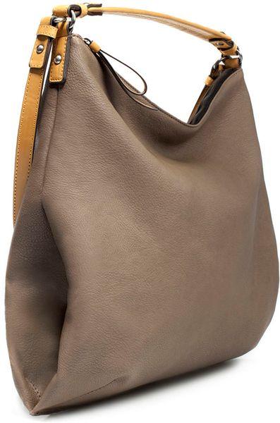 Zara Bucket Bag With Double Handle In Brown 049 Lyst