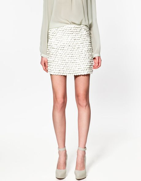 zara skirt with leather paillettes in white lyst
