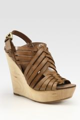 Ash Oman Leather Slingback Wedge Sandals - Lyst