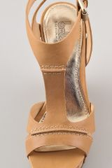 Belle By Sigerson Morrison Celsa Wedge Sandals in Beige - Lyst