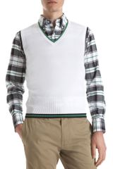Black Fleece Vneck Sweater Vest in White for Men - Lyst