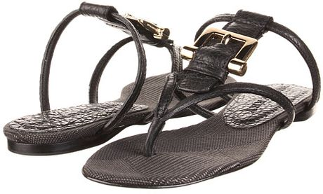 Burberry Check Canvas Jacquard Flat Thong Sandal in Black (b) - Lyst