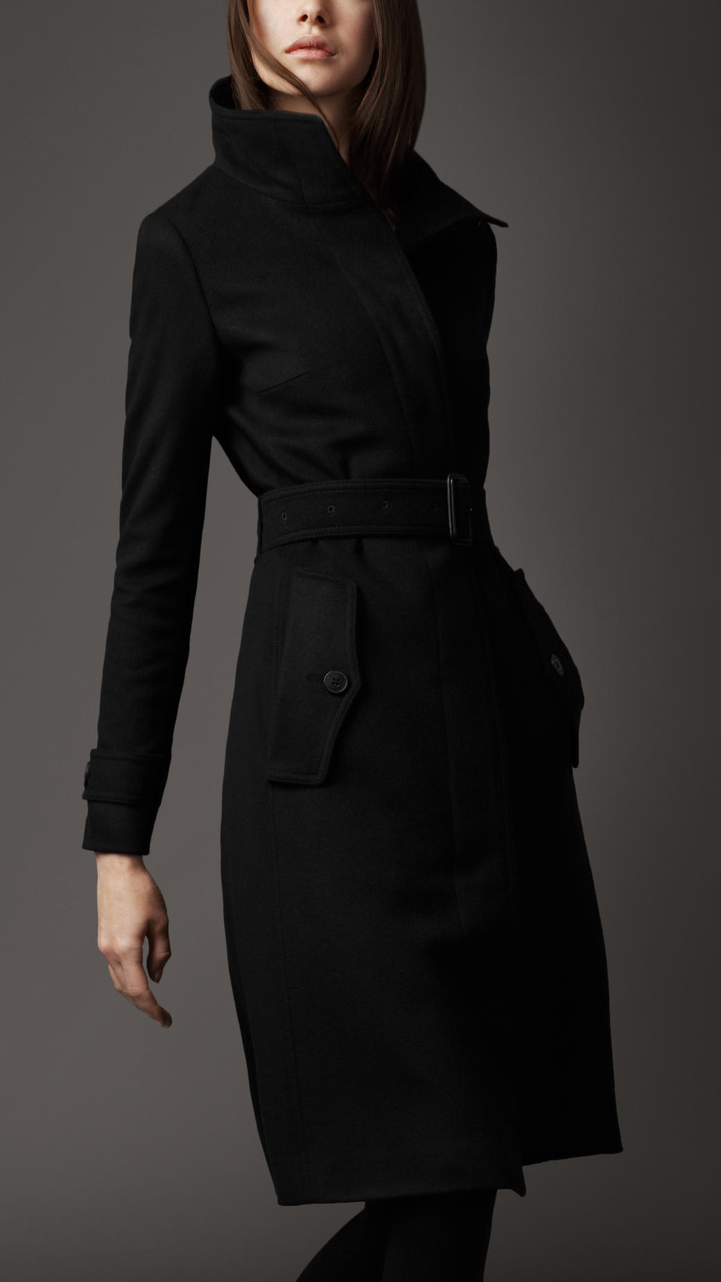 Burberry Long Cashmere Blend Coat in Black | Lyst