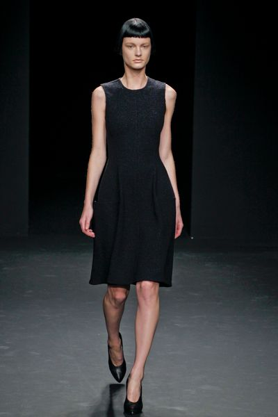 Calvin Klein Fall 2012 Sleeveless KneeLength Wool Dress in Charcoal Grey in Gray - Lyst