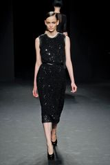 Calvin Klein Fall 2012 Sleeveless Knee Length Pencil Net Dress With Leather Binding On Armholes And Neckline In Black  - Lyst
