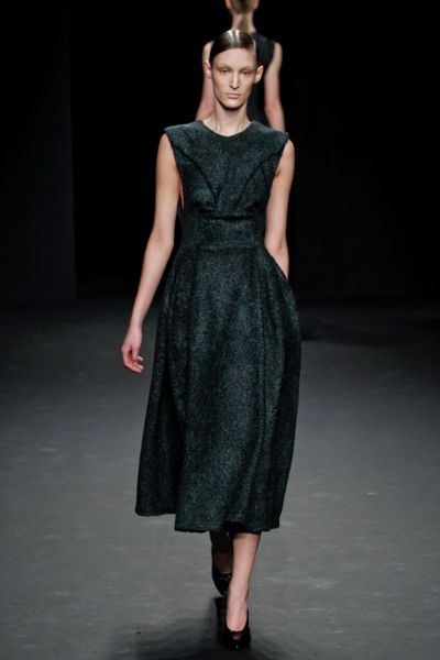 Calvin Klein Fall 2012 Sleeveless Mid Length HourGlass Shape Sculpted Dress In Dark Grey  in Gray - Lyst