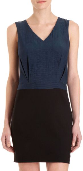 Barneys New York Colorblock Sheath Dress in Blue (navy) - Lyst