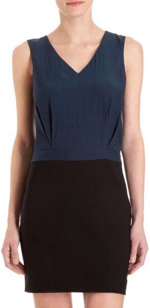 Barneys New York Colorblock Sheath Dress in Blue (navy)