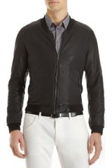 Dolce & Gabbana Ribbed Collar Bomber in Black for Men - Lyst