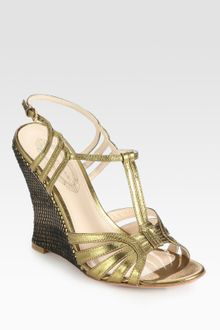 Elie Tahari Jonie Metallic Leather Slingback Wedge Sandals - Lyst
