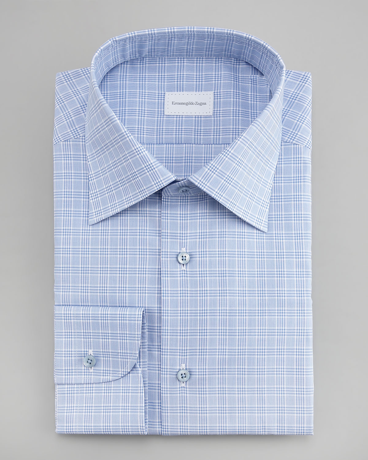 Ermenegildo zegna check dress shirt light blue in blue for Blue check dress shirt