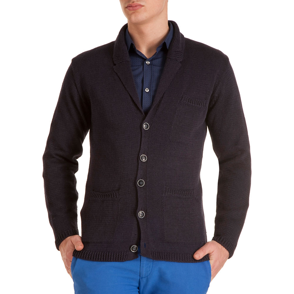 Allsaints Seattle Wa: Inis Meáin Pub Jacket Cardigan In Blue For Men