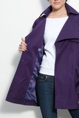 Kenneth Cole Double Collar Trench Coat in Purple - Lyst