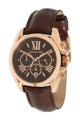 Michael Kors Rose Gold & Brown Watch - Lyst