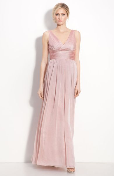 Ml monique lhuillier bridesmaids sleeveless ruched chiffon for Monique lhuillier pink wedding dress