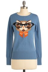 ModCloth Cat Eyeglasses Sweater - Lyst