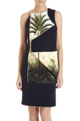 Pedro Lourenco Zip Panel Palm Tree Print Dress - Lyst