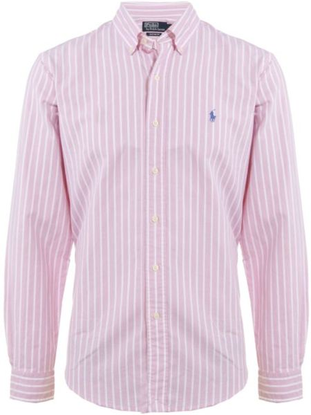 Polo ralph lauren custom fit striped oxford shirt in pink for Pink oxford shirt men