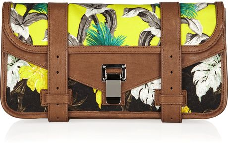 Proenza Schouler Ps1 Tropicalprinted Canvas and Leather Clutch in Multicolor (multicolored) - Lyst