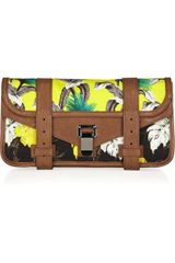 Proenza Schouler Ps1 Tropical-printed Canvas and Leather Clutch - Lyst