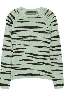 Proenza Schouler Zebra-print Knitted Cotton-blend Sweater - Lyst