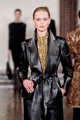 Ralph Lauren Fall 2012 Long Belted Leather Coat With Oversized Lapel And Side Pockets In Black  in Black - Lyst