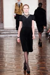 Ralph Lauren Fall 2012 High-Waisted Black Knee-Length Skirt with Front Slit - Lyst
