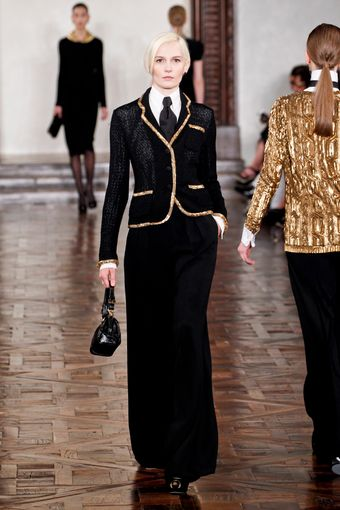 Ralph Lauren Fall 2012 Black Formal Single-Breasted Jacket with Golden Trims - Lyst