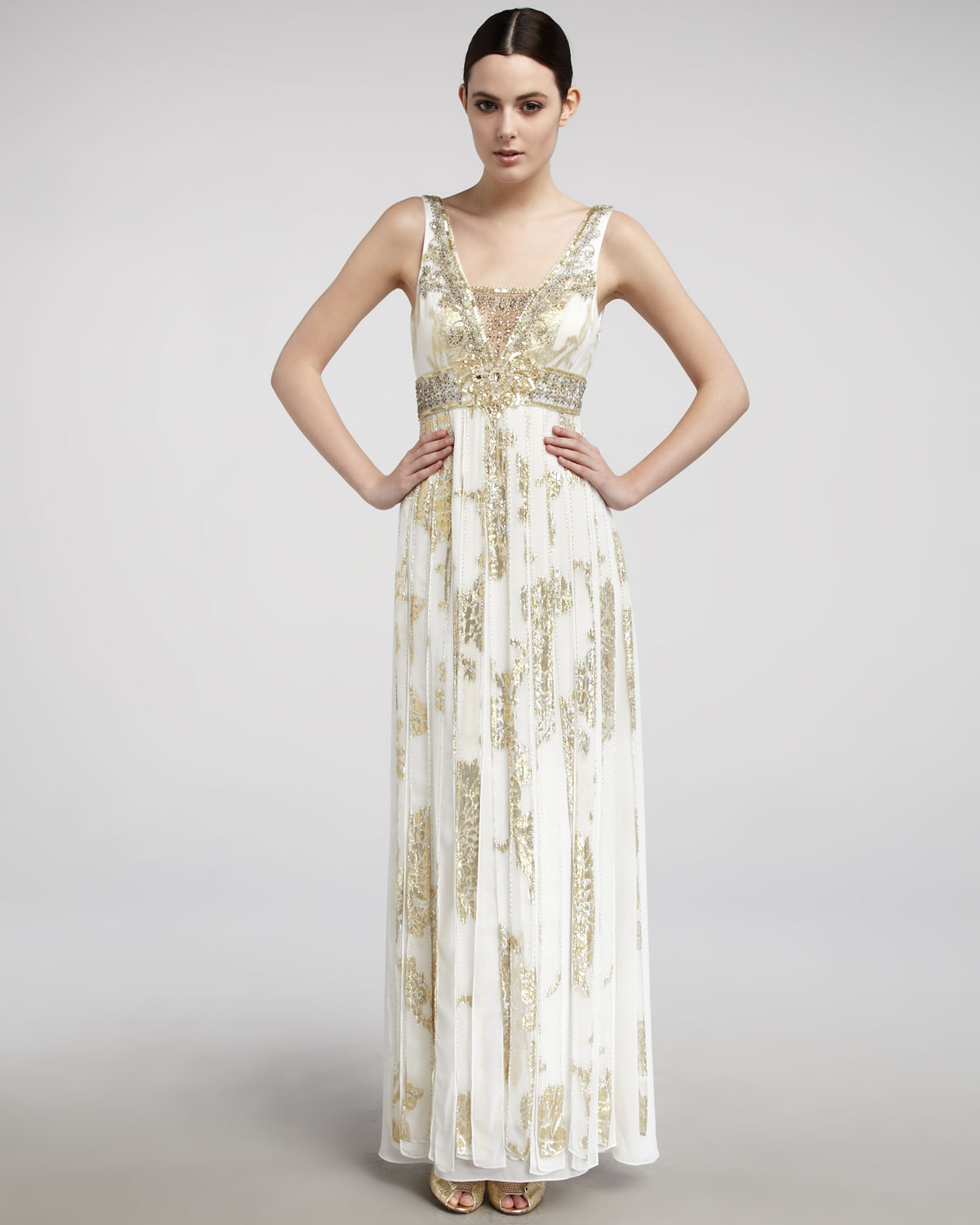 42e1de7f2fe Sue Wong Metallic Carwash-pleat Gown in Natural - Lyst