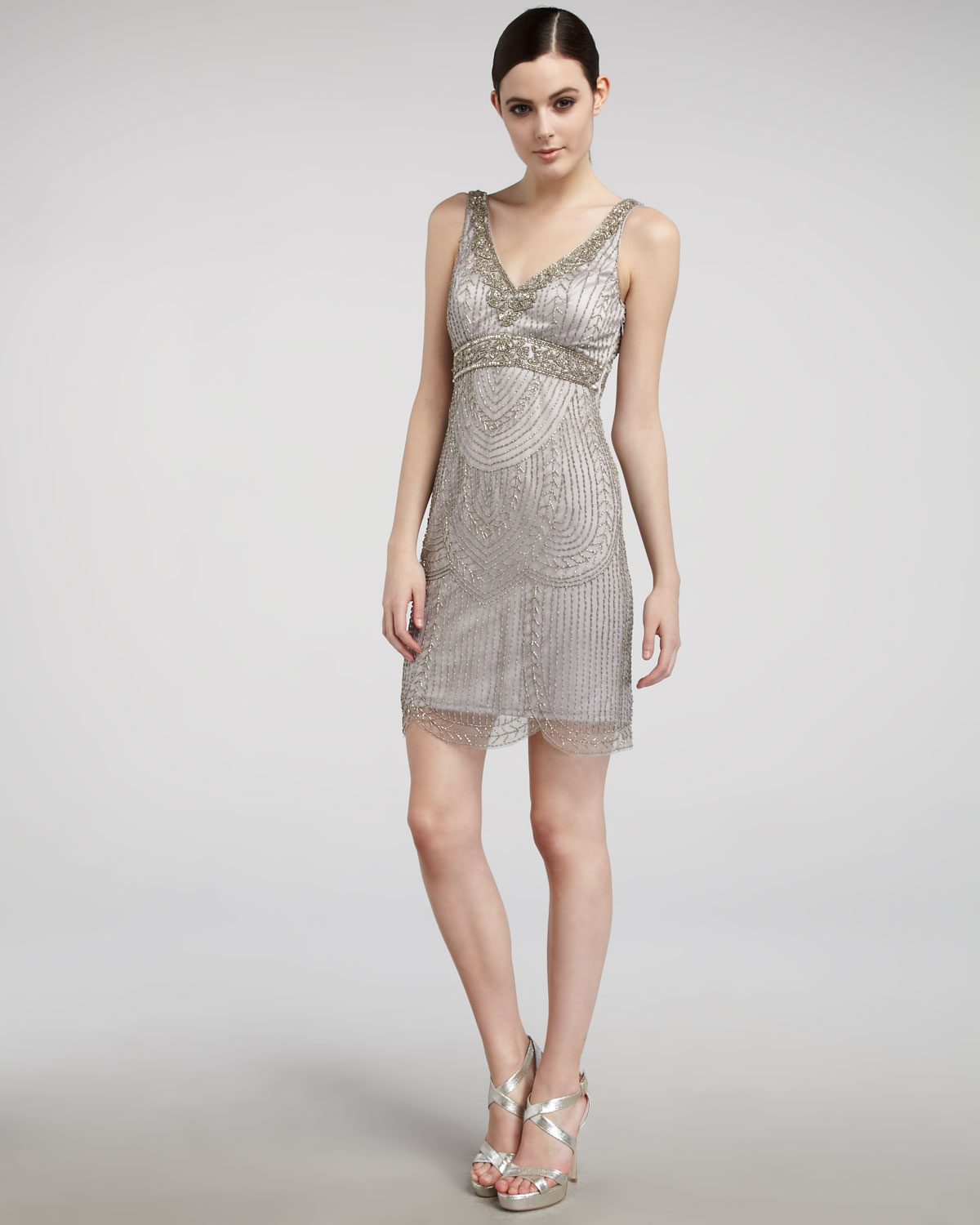 Sue Wong Beaded Empire-waist Dress In Gray