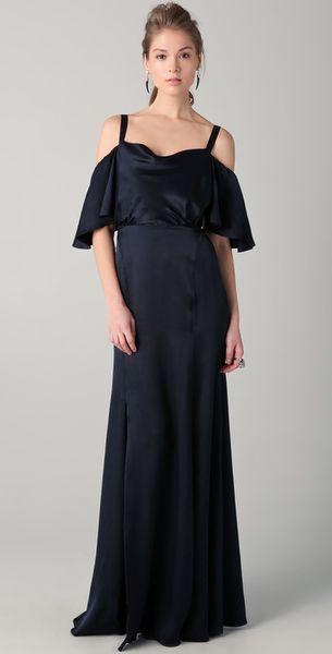 Temperley London Long Scarlet Shoulder Dress in Black (ink)