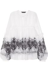 Thomas Wylde Angel Of The Night Printed Silk-chiffon Top - Lyst