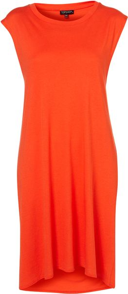 Topshop Open Back Cover Up Tee in Red