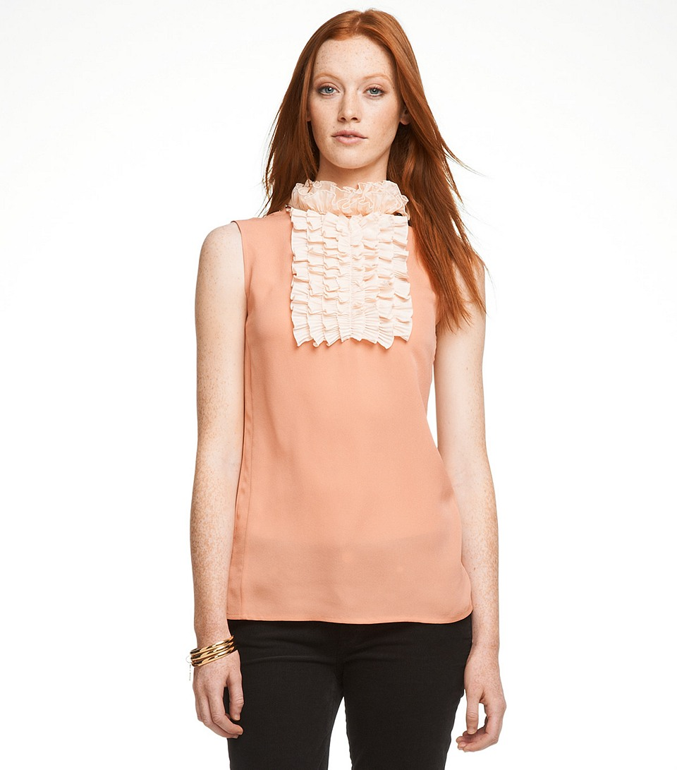 Tory burch cecelia blouse in orange coral lyst for Tory burch fashion island
