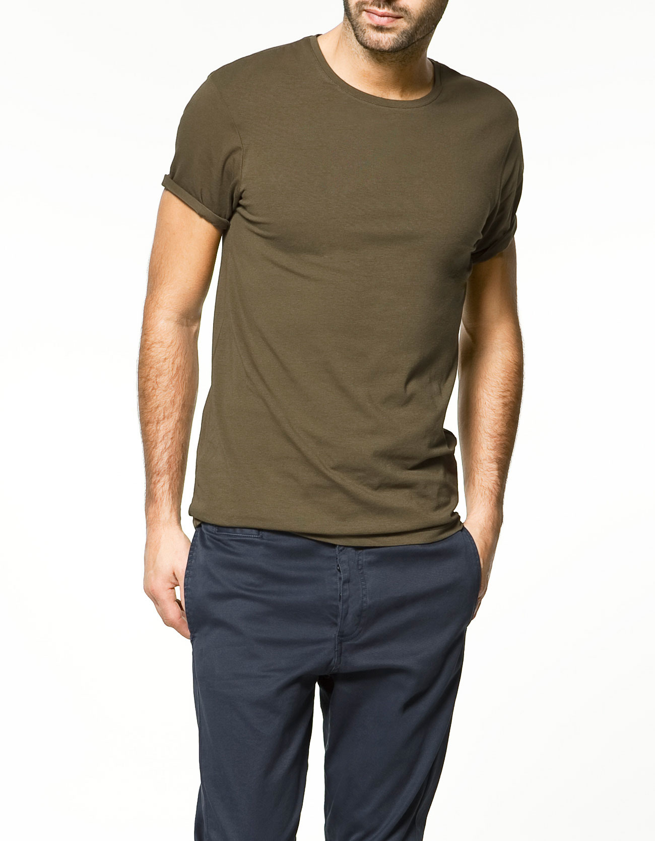 Zara slim fit t shirt in khaki for men lyst Fitness shirts for men