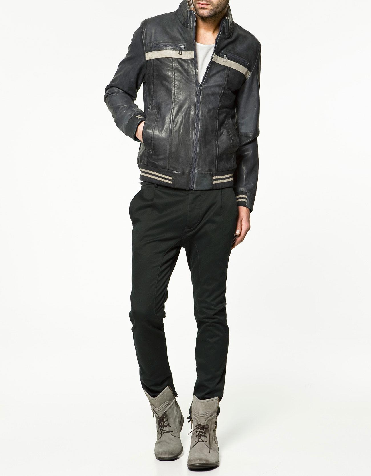 Zara mens leather jacket