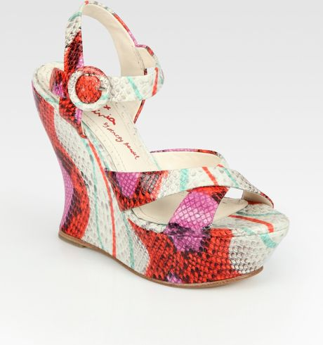 Alice + Olivia Multicolored Snakeprint Leather Wedge Sandals in Multicolor (coral) - Lyst